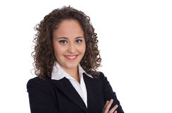 Stående av en ung affärskvinna för en kandidatur eller ett jobb appl royaltyfria foton