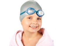 Stående av en ung flicka i simninglock Royaltyfria Bilder