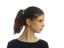 Stående av en ung flicka med mörkt hår Arkivbilder