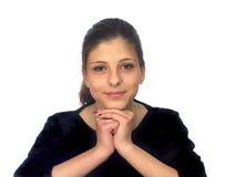 Stående av en ung flicka med mörkt hår Arkivfoton