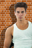 Stående av en ung man, väggen bakom skugga royaltyfria bilder