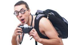 Stående av en ung nerd med den gammalmodiga kameran Arkivfoto