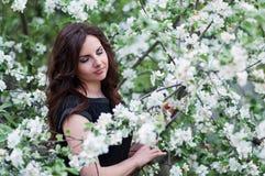 Stående av en vårkvinna, framsidakvinnlig som tycker om den körsbärsröda blomningen Royaltyfri Foto