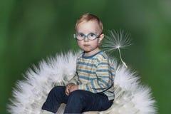 Stående av ett litet barn på en maskrosbakgrund royaltyfria foton
