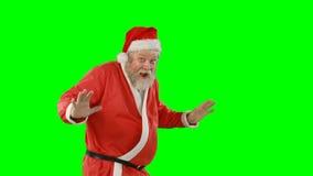 Stående av förvånat Santa Claus vinka stock video