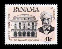 Stående av F de Lesseps, hundraårsdag av den Pan Am kanalserien, c Arkivfoton