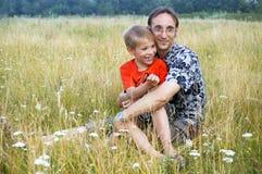 stående av fadern och sonen Royaltyfri Fotografi
