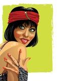 Stående av fannyflickan med handen. Illustrstion Stock Illustrationer
