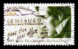 stående av Felix Mendelssohn Bartholdy, 150. dödårsdagserie, circa 1997 Royaltyfria Bilder