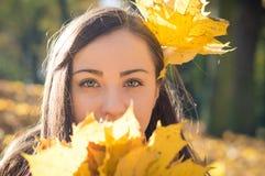 Stående av flickan i höstpark royaltyfri bild