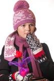 Stående av flickan i vinterkläder av sinnesrörelse Royaltyfri Foto