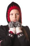 Stående av flickan i vinterkläder av sinnesrörelse Royaltyfria Foton