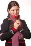 Stående av flickan i vinterkläder av sinnesrörelse Arkivfoto