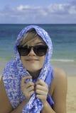 Stående av flickan på stranden Arkivbilder