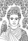 Stående av Frida Kahlo stock illustrationer