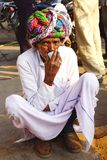 Stående av gamala mannen i turban. Royaltyfri Fotografi