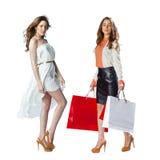 Stående av härliga unga kvinnor för en brunett som poserar med shopping Arkivfoto