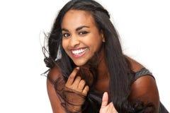 Stående av härligt skratta för ung kvinna fotografering för bildbyråer