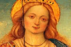 Stående av helgonet Catherine av Alexandria av Gerolamo Giovenone Vercelli - 1555, Milan arkivfoton