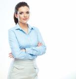 Stående av isolerad säker vit bakgrund för affärskvinna Arkivfoton