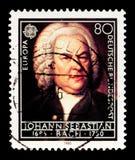 Stående av Johann Sebastian Bach, europeiskt år av musikserie, circa 1985 royaltyfria bilder
