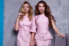 Stående av kläder för stil för affär för kläder för kvinna två för kontor royaltyfri foto