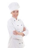 Stående av kocken för ung kvinna som isoleras på vit Royaltyfri Fotografi