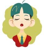 Stående av kontorsflickan med stängda ögon med blått-gräsplan hår in Royaltyfri Illustrationer