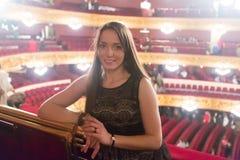 Stående av kvinnan i Granen Teatre del Liceu Royaltyfri Foto