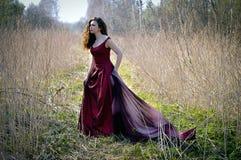 Stående av kvinnan i lång röd klänning Fotografering för Bildbyråer