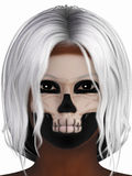 Stående av kvinnan med skelett- smink Royaltyfri Foto