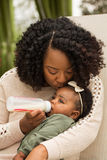 Stående av kvinnan som matar hennes dotter med en flaska Arkivbild