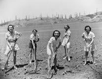 Stående av kvinnor som gräver i fält (alla visade personer inte är längre uppehälle, och inget gods finns Leverantörgarantier som royaltyfria foton