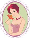 Lady med liljan royaltyfria bilder