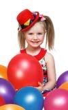 Stående av lite flickan som spelar med bollar Arkivbilder