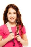 Lyckliga 11 år flicka royaltyfri bild
