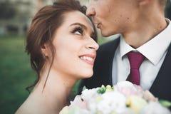 Stående av lyckliga brölloppar med huvudet - - head near slott Royaltyfri Bild