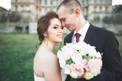 Stående av lyckliga brölloppar med huvudet - - head near slott Arkivfoto