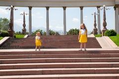 Stående av lyckliga förtjusande två utomhus- systerbarnflickor Gullig liten unge i sommardag fotografering för bildbyråer