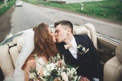 Stående av lyckliga gifta sig nyligen par med buketten royaltyfri fotografi