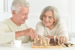 Stående av lyckliga höga par som tillsammans spelar schack royaltyfria bilder