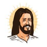 Stående av lyckliga Jesus Christ Messiah, gudsymbolkristendomen den främmande tecknad filmkatten flyr illustrationtakvektorn royaltyfri illustrationer