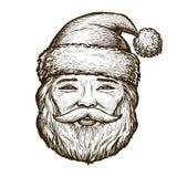 Stående av lyckliga Santa Claus bakgrundskortjulen som greeting sidan, skissar malluniversalrengöringsduk Tappningvektorillustrat stock illustrationer