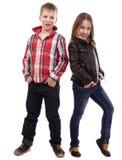 Stående av lyckliga unga ungar Arkivfoton