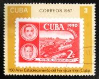 Stående av M Balanzategui och A L Pausta avgångkommunikationer, 150. årsdag av kubanska järnvägar, serie, circa 1987 Royaltyfria Bilder