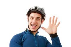 Stående av mannen, i att cykla hjälmen royaltyfria bilder