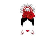 Stående av modern latin eller spanjor kvinna, dam med tillbehörpeineta och röd blomma, isolerad symbol, vektorillustration royaltyfri illustrationer