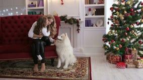 Stående av modern med dottern och hunden på soffan stock video