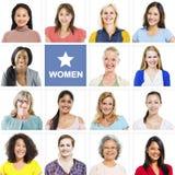Stående av multietniska olika gladlynta kvinnor Arkivbild