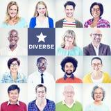 Stående av multietniskt olikt färgrikt folk royaltyfri foto